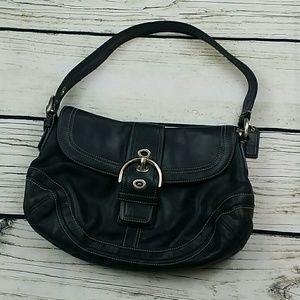 Soho Leather Buckle Flap Coach Hobo